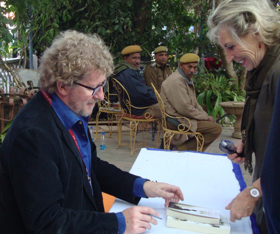 Sebastian Faulks obliging a fan